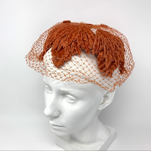 Vintage 1950s Netted Velour Feather Tulle Hat